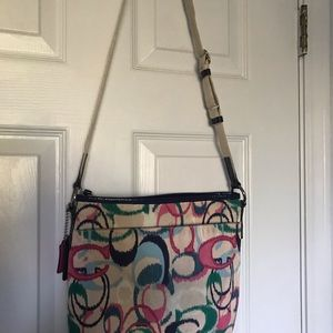 Crossbody multi colored coach bag